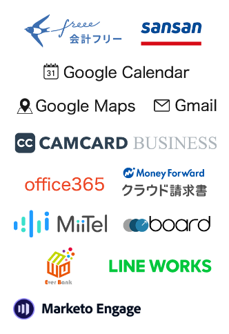 Freee、Sansan、Google Maps、Gmail、Camcard、GoogleCalendarと連携可能